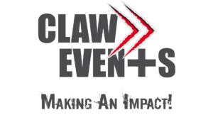 """Das Logo von CLAW Events. Es zeigt den Schriftzug mit dem """"Fast Forward"""" Logo, das wie eine Kralle aus Papier gestanzt ist."""